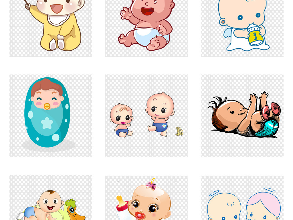 免抠元素 人物形象 动漫人物 > 手绘卡通婴幼儿小孩宝宝儿童海报背景