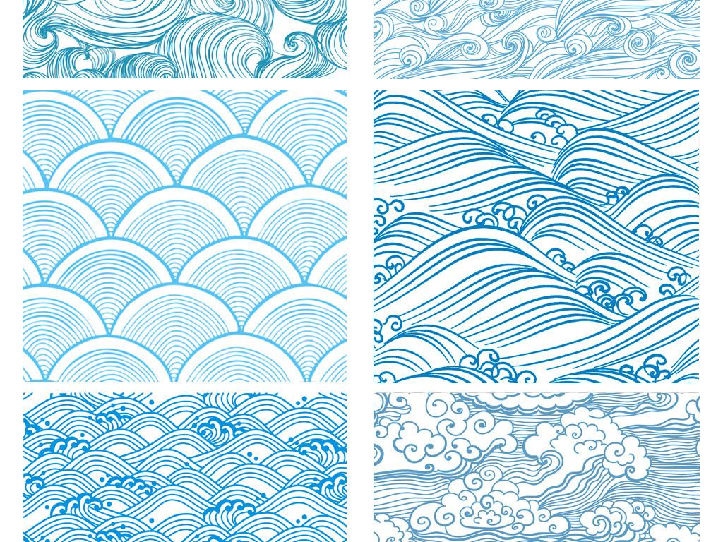 手绘蓝色海浪花纹传统和风无缝纹理平铺背景图案
