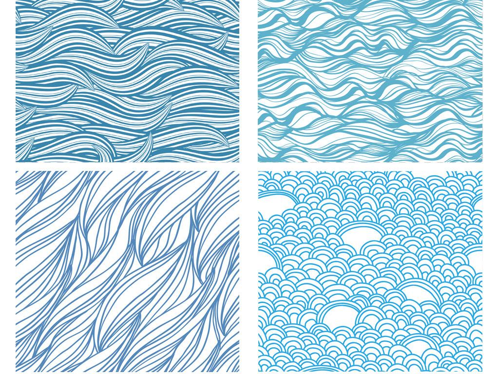 免抠元素 花纹边框 其他 > 手绘蓝色海浪花纹传统和风无缝纹理平铺