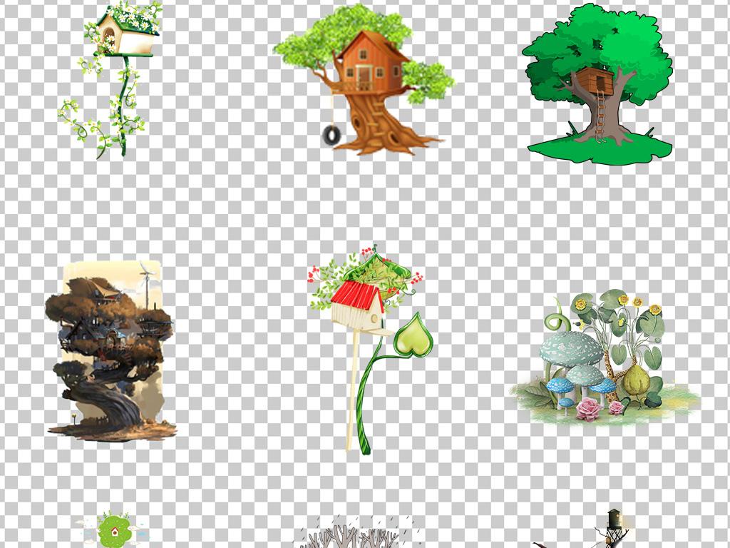 01005树屋手绘卡通树屋插画唯美小清新树屋免抠素材