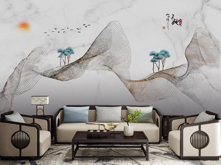 新中式抽象山水金色线条大理石纹电视背景墙