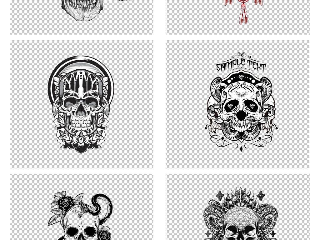 创意手绘黑白骷髅头纹身花纹png背景图片素材