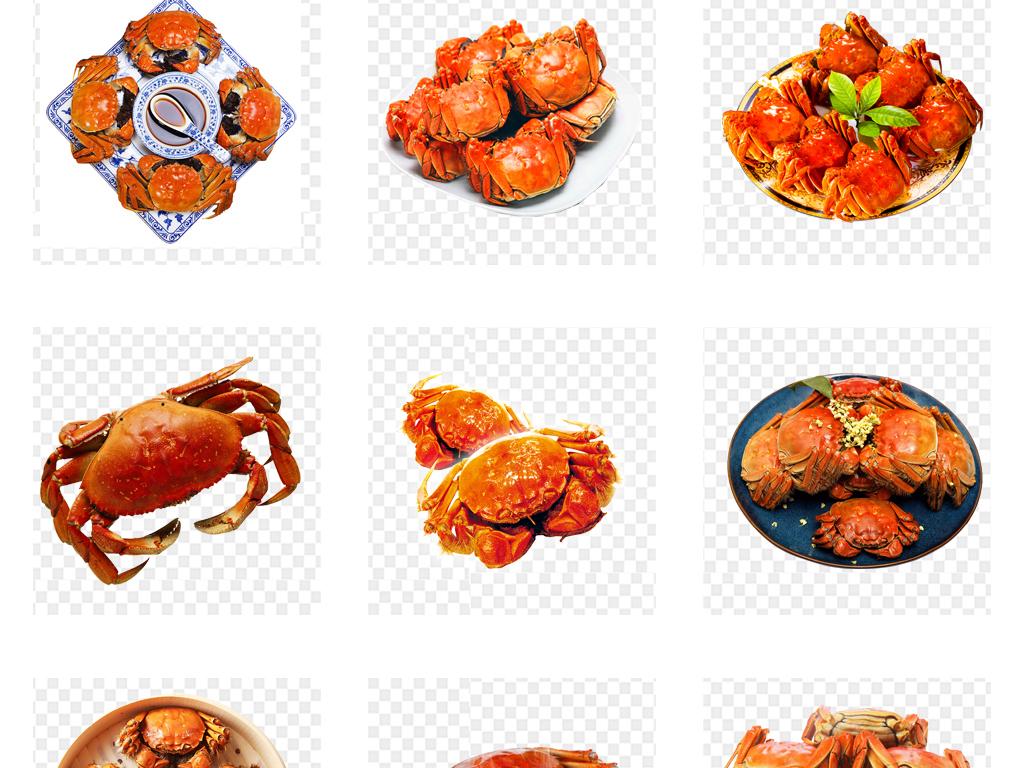 手绘卡通螃蟹美味螃蟹香辣蟹海鲜素材美食大闸蟹海鲜螃蟹海鲜美食河