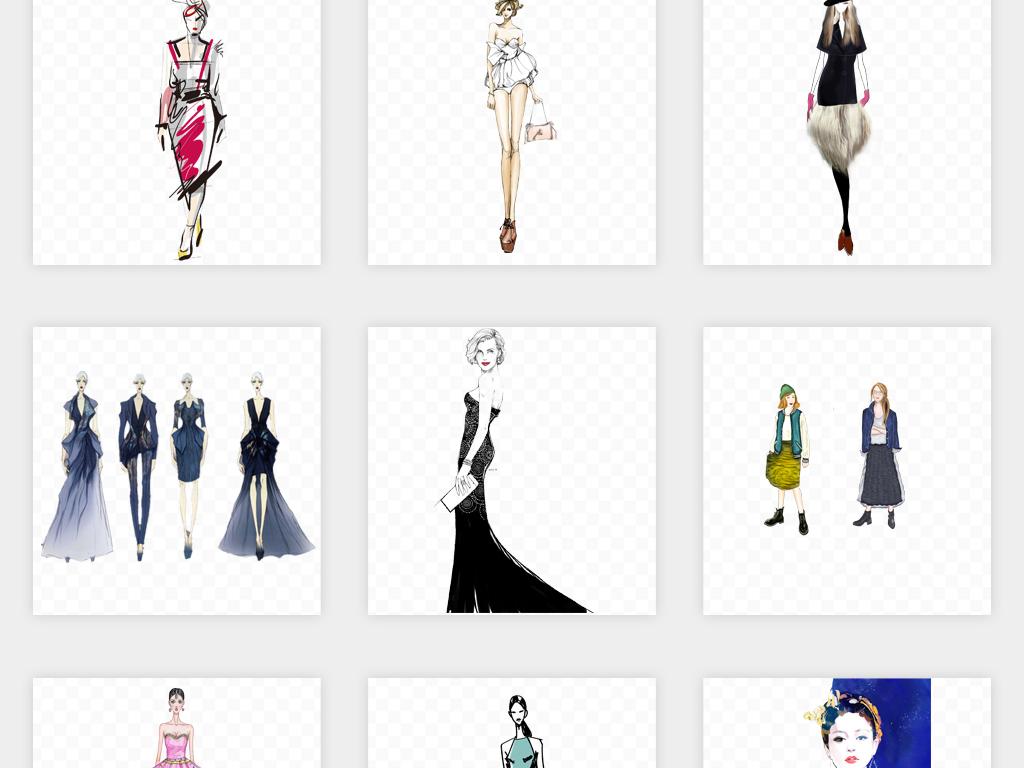 卡通手绘美女模特人物服装模特png免扣素材