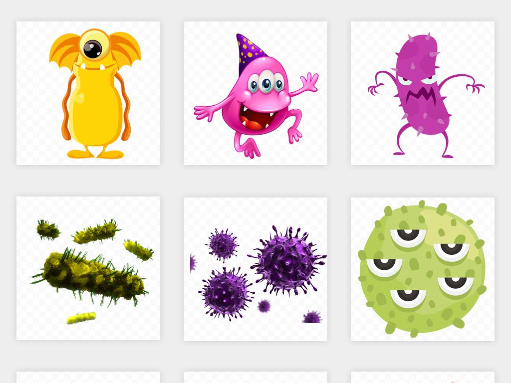 卡通手绘流行病毒细菌卡通细胞宣传栏海报png素材