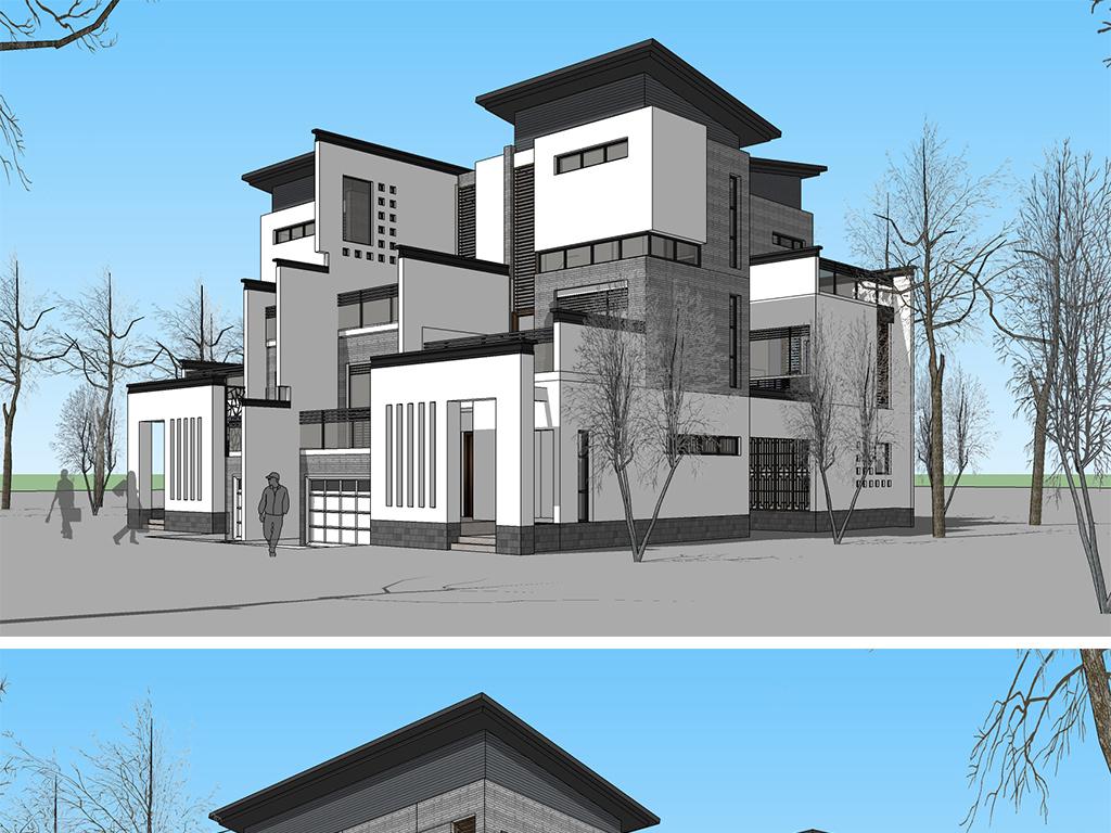 徽派丶新中式风格单体小别墅建筑su模型