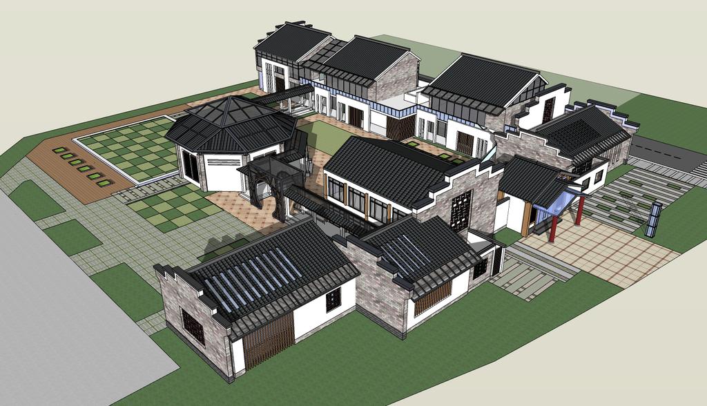 徽派丶新中式风格建筑小聚落su模型