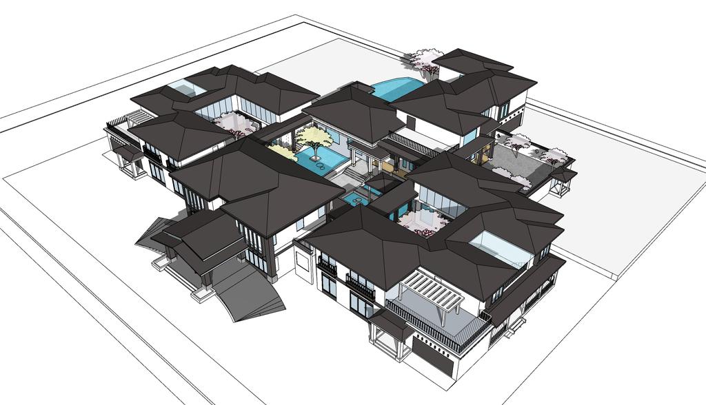 徽派丶新中式风格小聚落建筑su模型