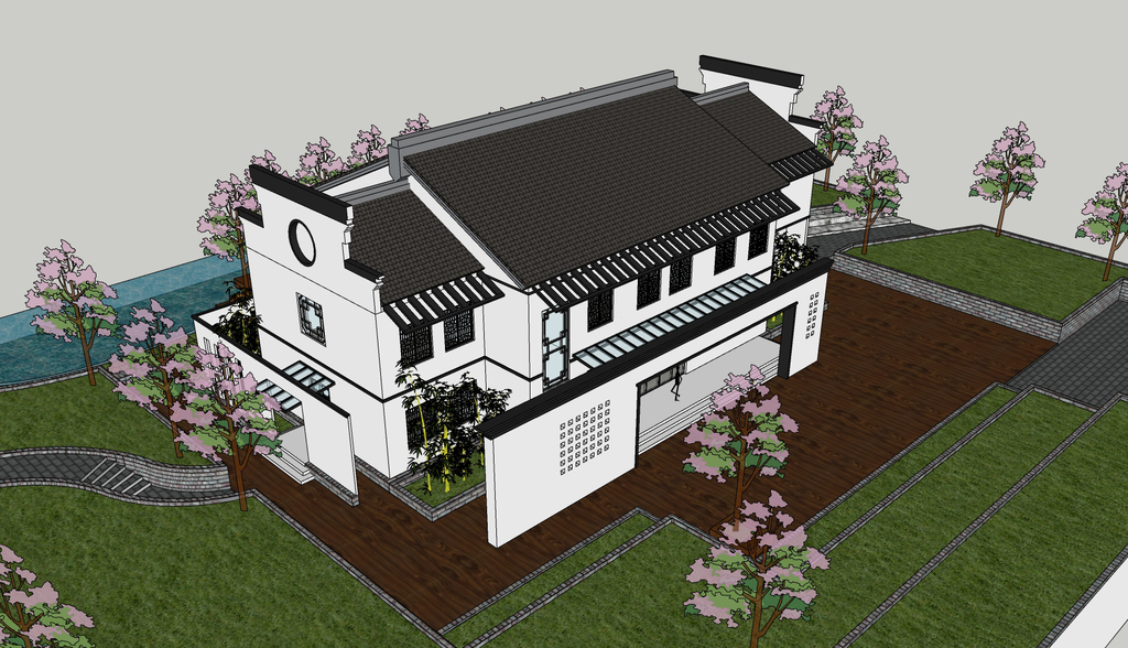 徽派丶新中式风格建筑别墅su模型图片