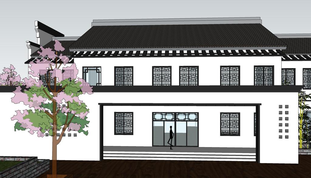 > 徽派丶新中式风格建筑别墅su模型  素材图片参数: 是否可商用 :可