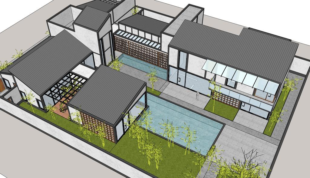模型库 su模型 建筑模型 > 徽派丶新中式风格职工厂房,宿舍su模型  素
