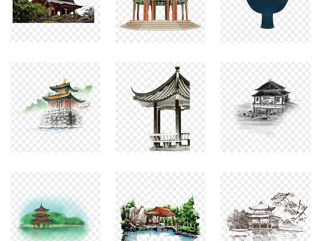 公园亭子广场中式景观水墨中国风亭子效果