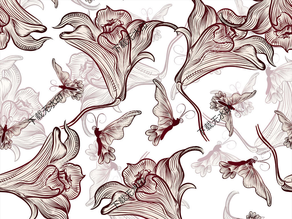 手绘花卉蝴蝶传统花型图案数码印花面料图案图片设计
