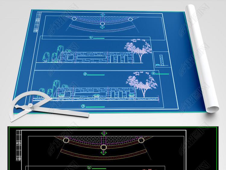 CAD优质景墙施工详图