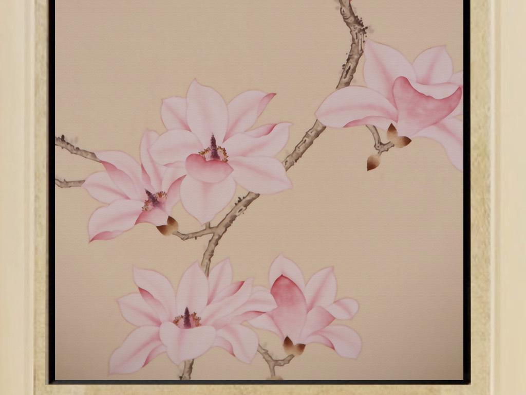 新中式手绘海棠工笔花鸟玄关装饰画