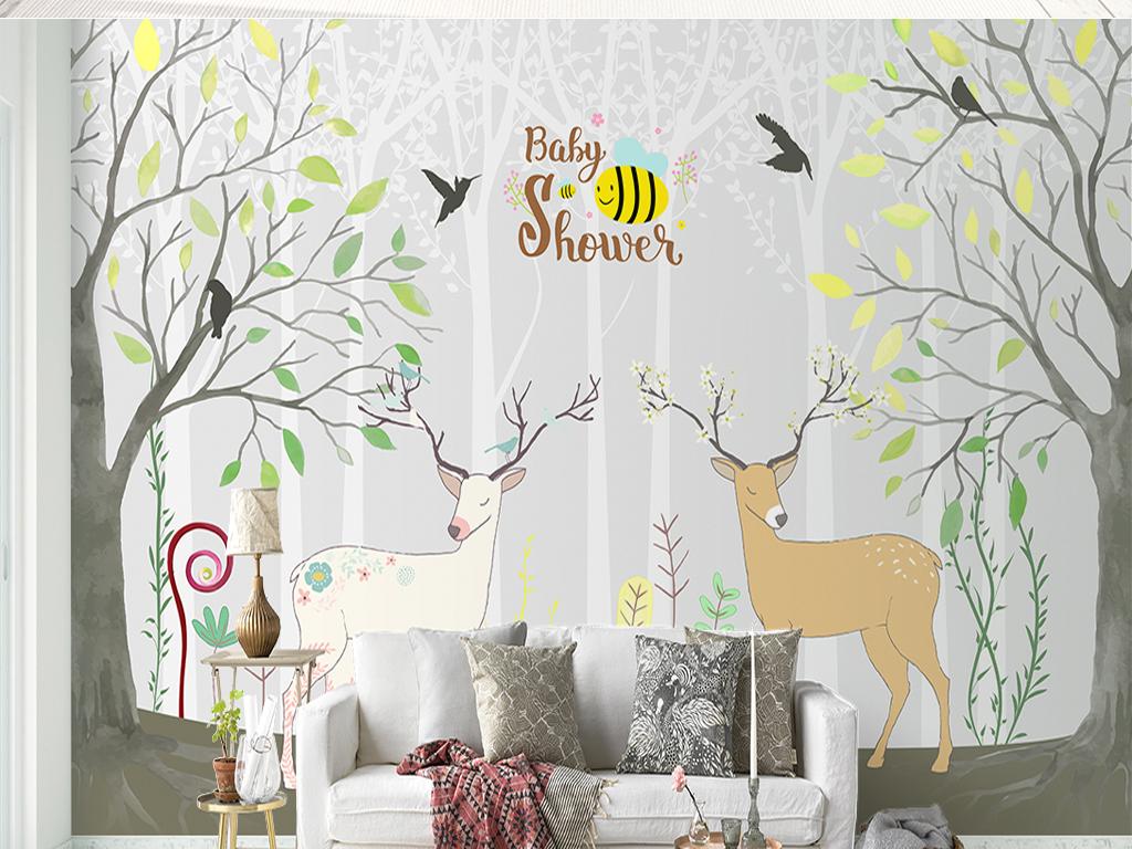 手绘树林麋鹿儿童房沙发电视背景墙图片设计素材_高清