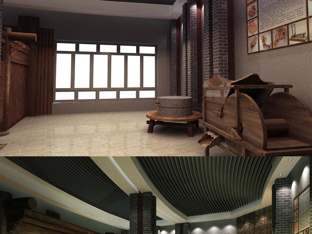 模型库 室内模型 展馆模型 > 农具博物馆民俗文化展厅  素材图片参数
