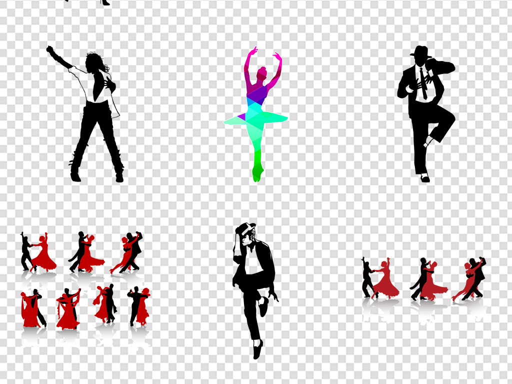 彩色炫彩芭蕾舞者女孩剪影舞蹈培训png招生海报