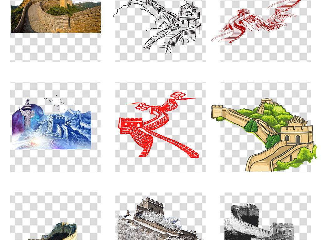 北京手绘长城旅游景点png海报素材