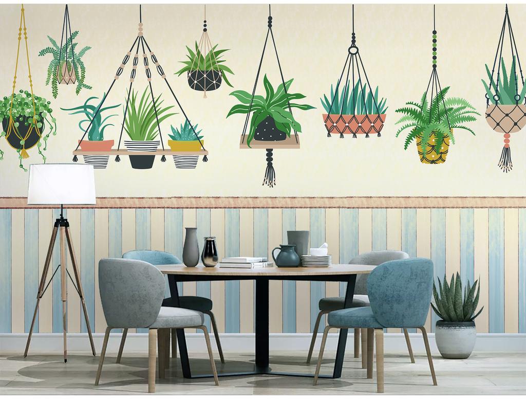 北欧水彩植物现代简约手绘小清新北欧装饰画