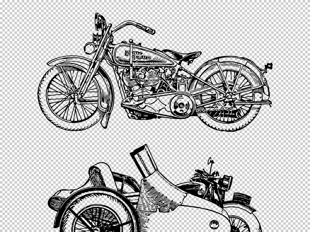 百年古董级交通工具手绘复古人力车自行车马车插画矢量eps素材