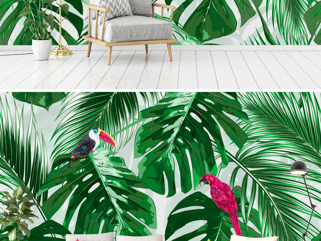 手绘龟甲背热带植物背景墙壁纸壁画