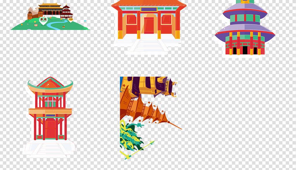 卡通古建筑中国屋檐古代建筑中国建筑免抠素材中国风建筑建筑素材城楼