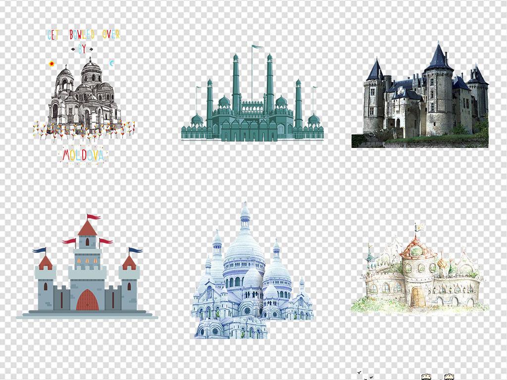 童话城堡梦幻碉堡手绘素描城堡png素材