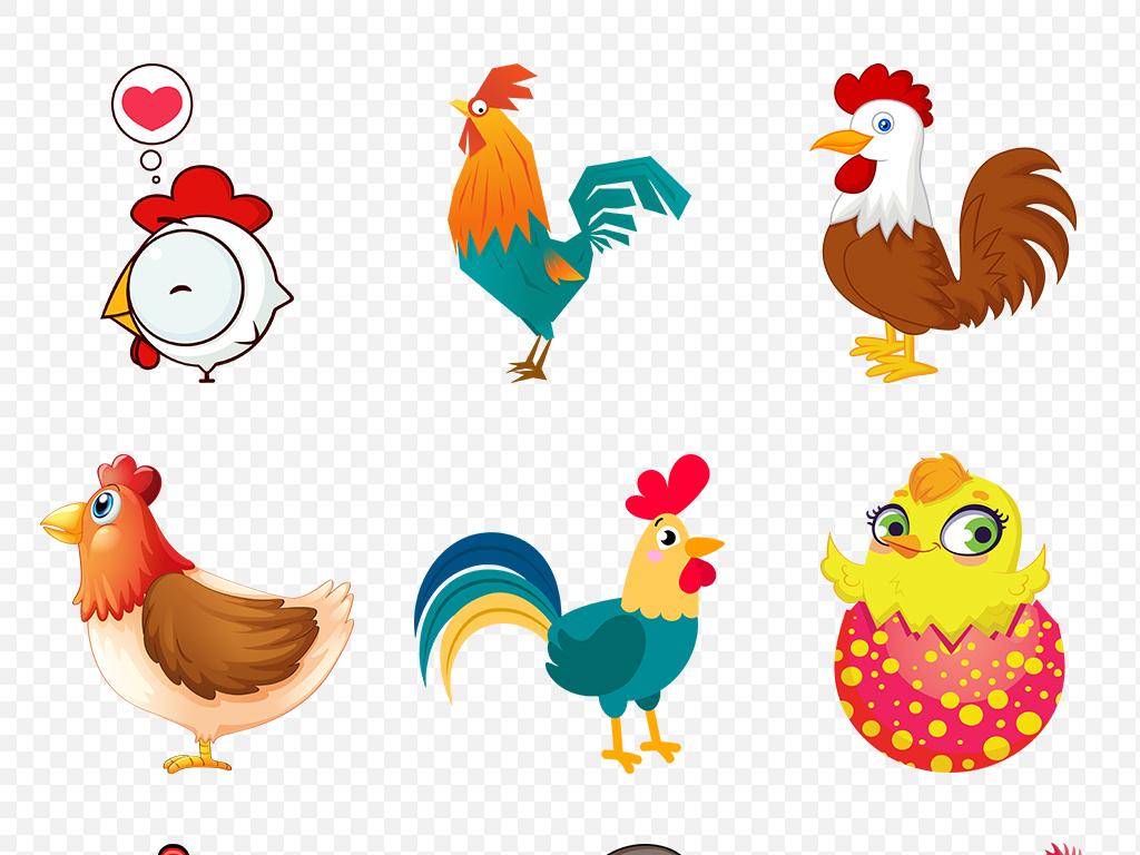 鸡年手绘水彩可爱卡通鸡海报素材背景png图片