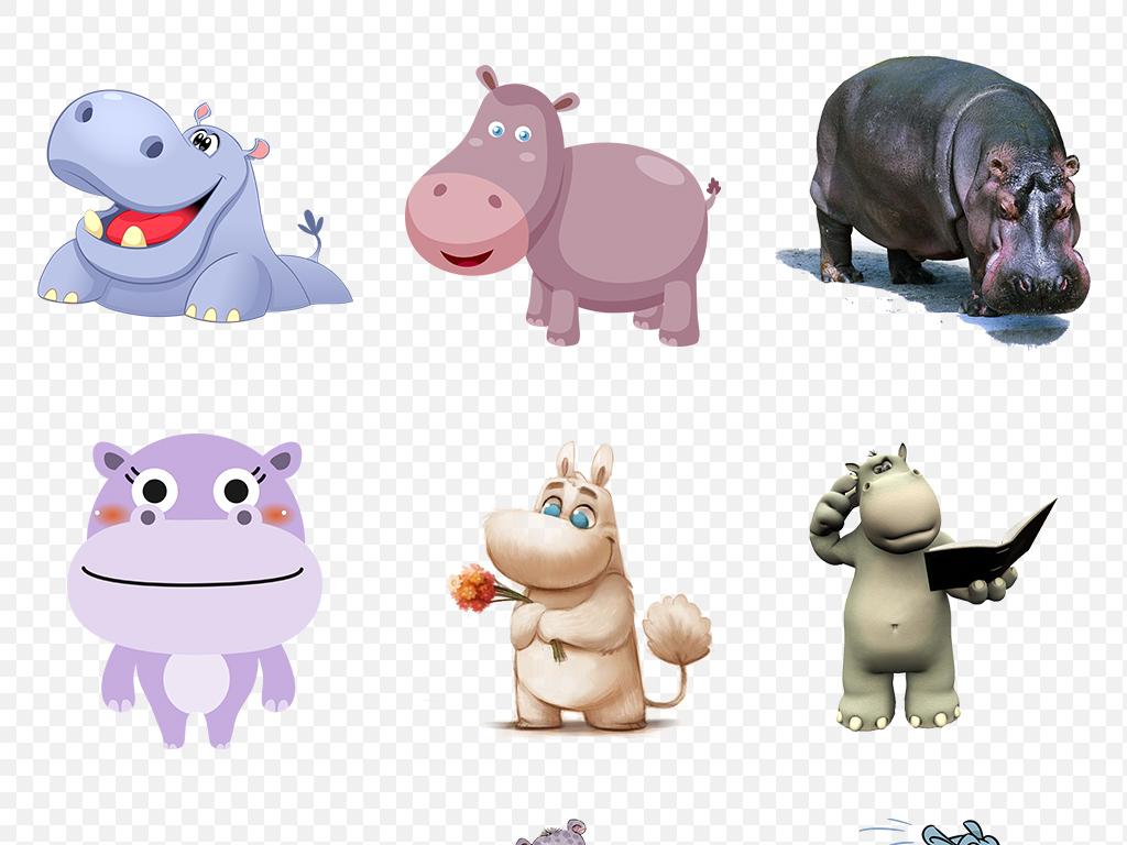 卡通河马动物手绘海报素材背景png