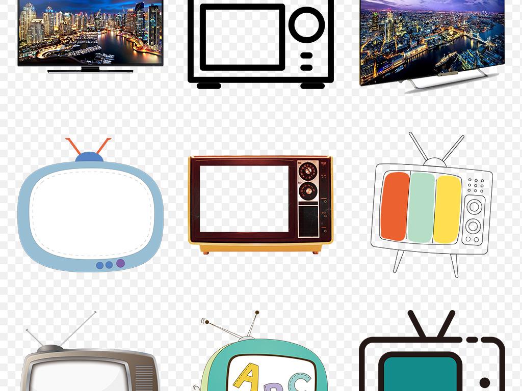 卡通电视可爱电视机海报素材背景png