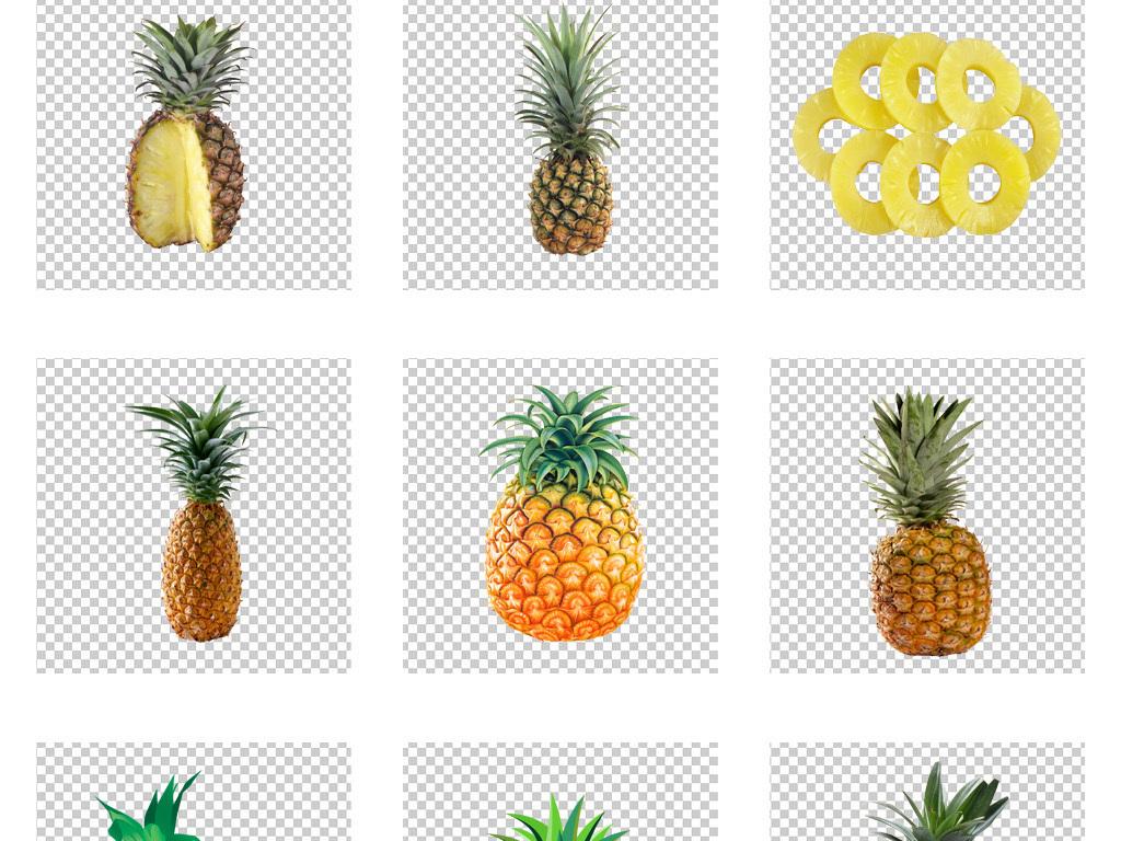 原创手绘卡通水果黄色凤梨菠萝png免扣素材