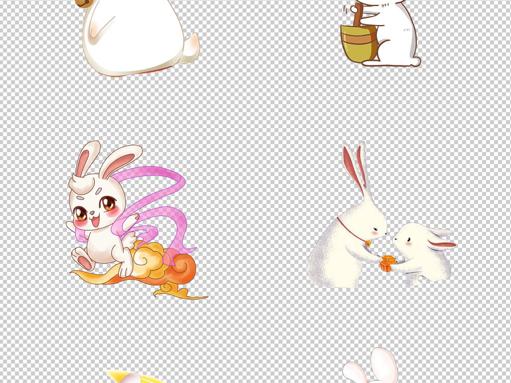 原创中秋节卡通手绘玉兔兔子png免扣图片