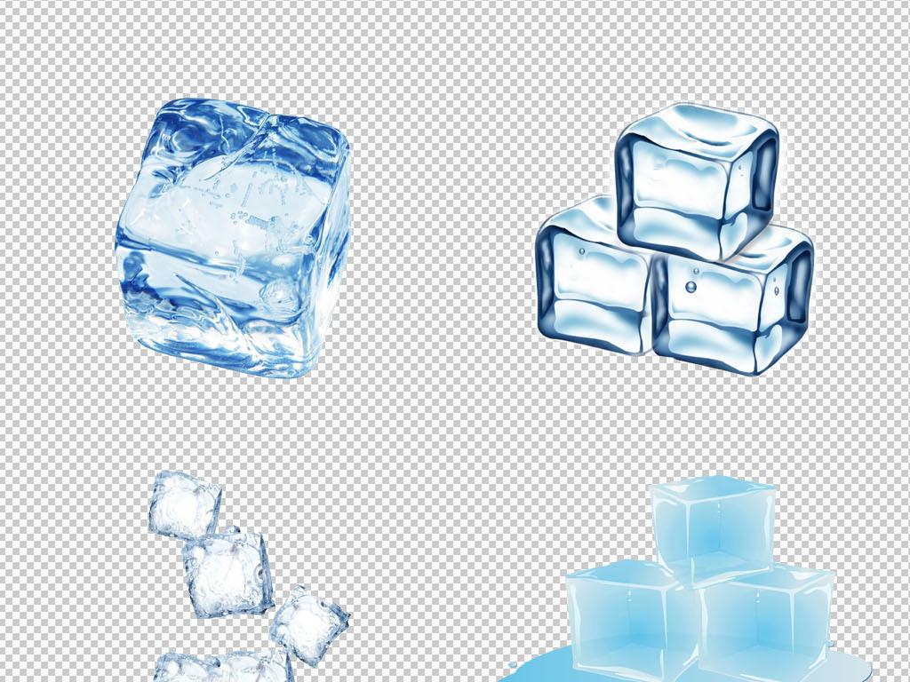 原创高清大图手绘夏日清凉透明冰块png免扣素材