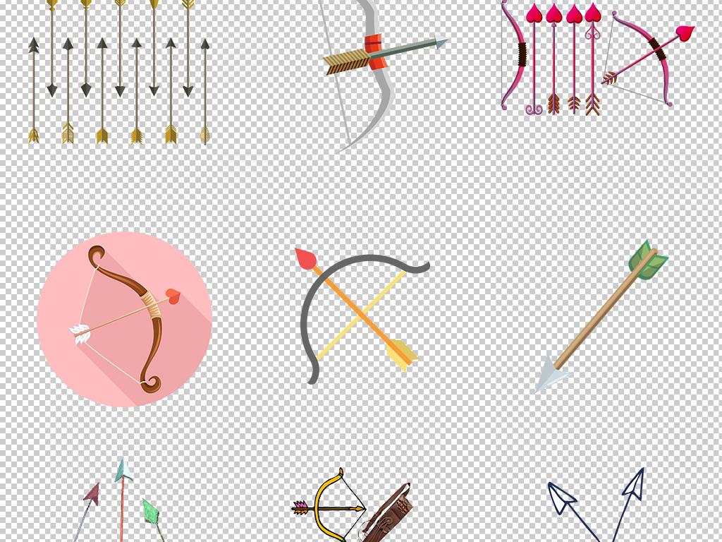 卡通手绘古代弓箭羽毛箭射箭png免扣素材