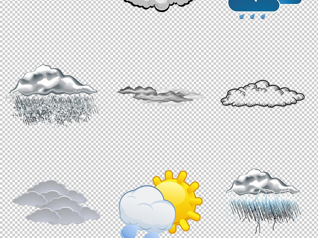 可爱卡通手绘白云云朵天气预报素材png