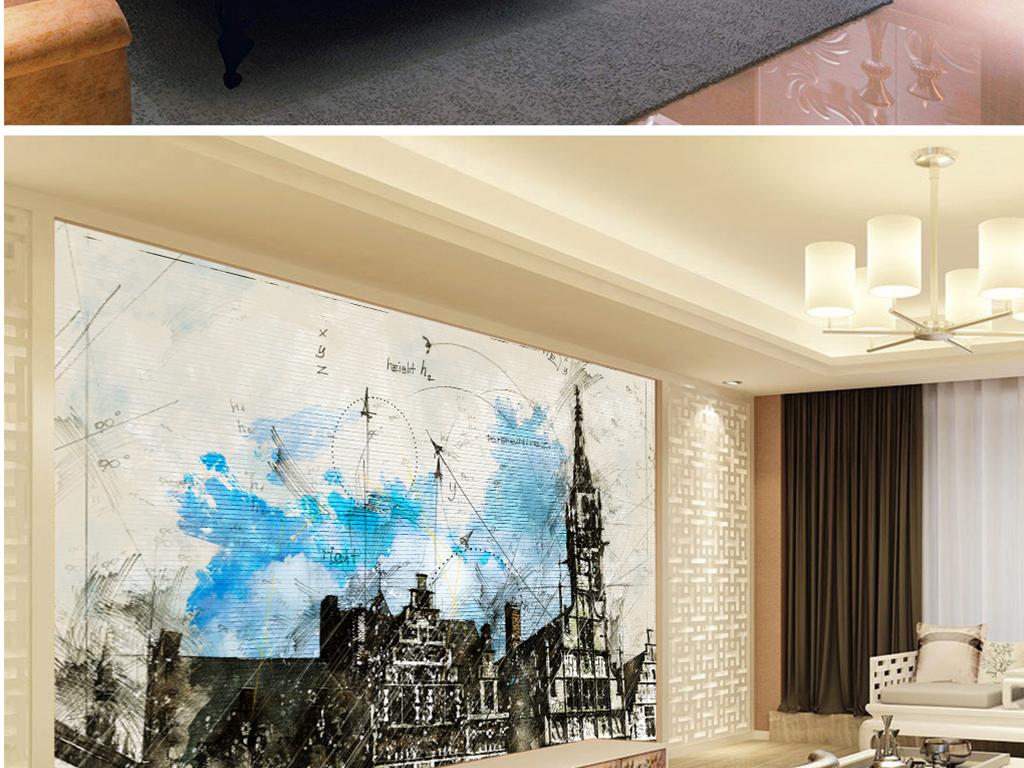 背景墙 电视背景墙 电视背景墙 > 手绘教堂市场西班牙几何  素材图片
