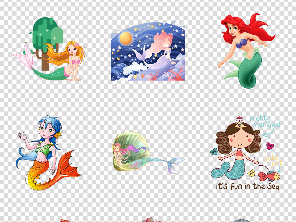 免抠元素 人物形象 动漫人物 > 唯美梦幻卡通人鱼公主美人鱼海报背景