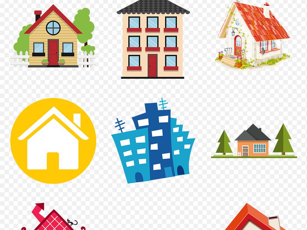 卡通城市手绘建筑楼写字楼动漫房子卡通树房屋
