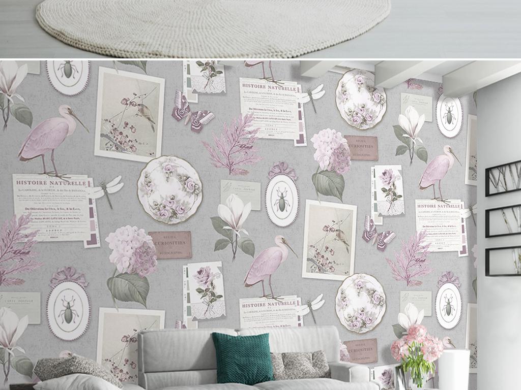 欧式ins风手绘花鸟装饰画挂件客厅背景墙
