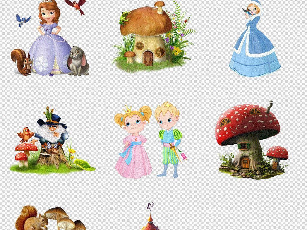 童话故事插画卡通手绘人物城堡蘑菇免扣素材