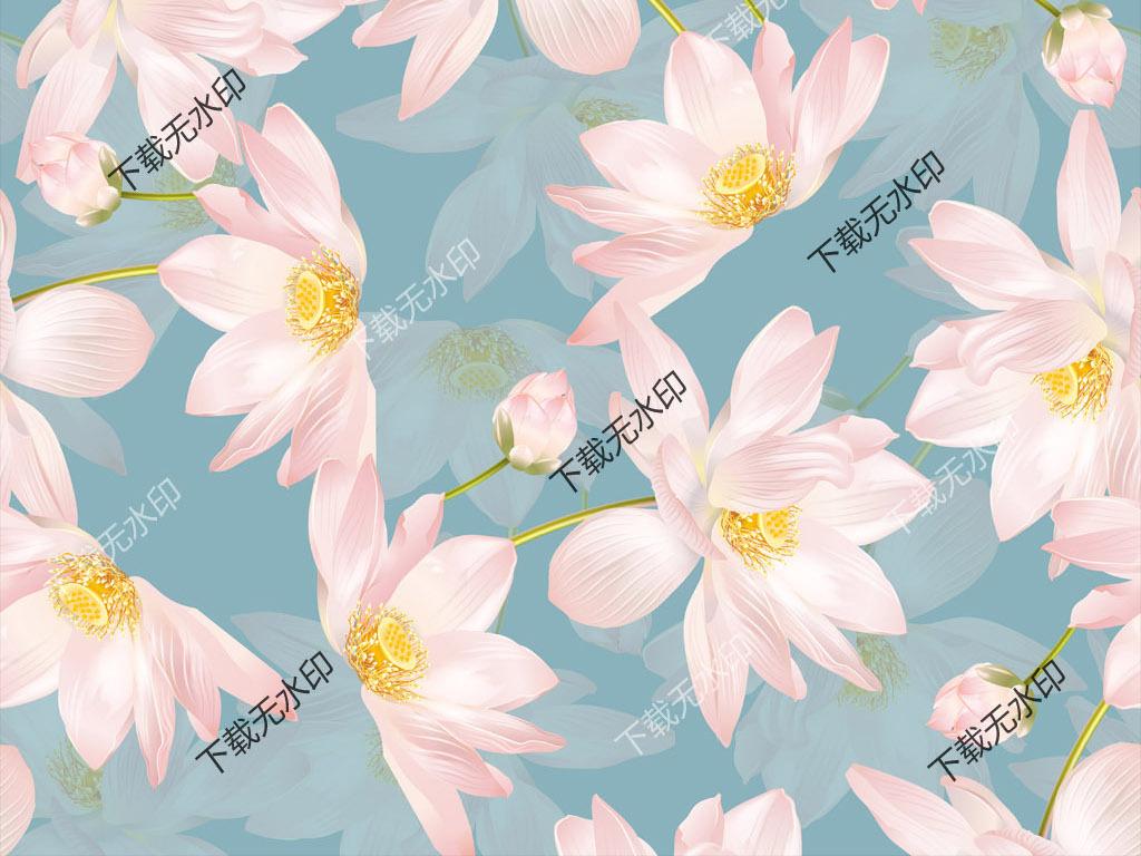 手绘荷花图案数码印花服装面料原创花型设计