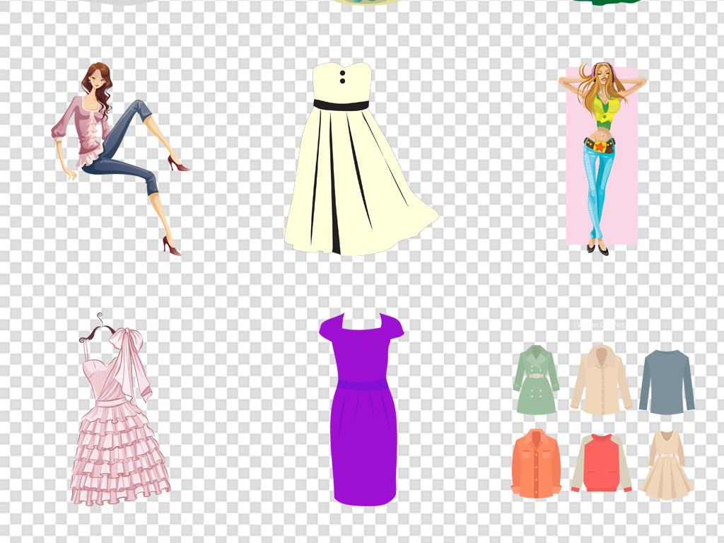 卡通手绘衣服裙子衬衫西装图标免扣png