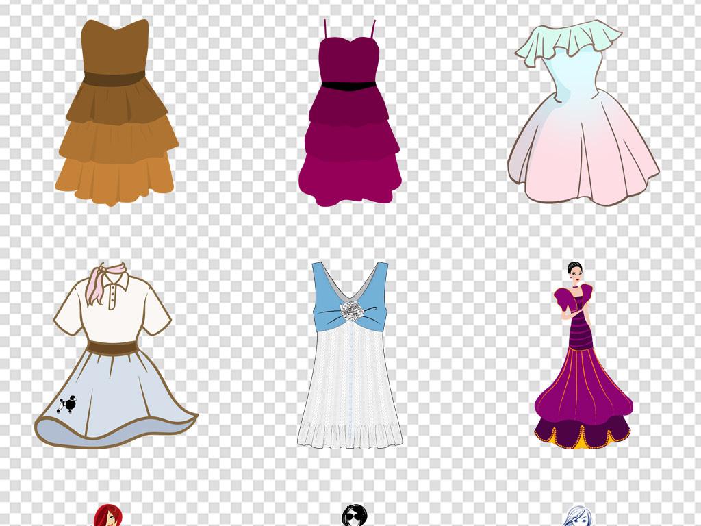 卡通手绘衣服裙子衬衫西装图标免扣png图片素材_模板