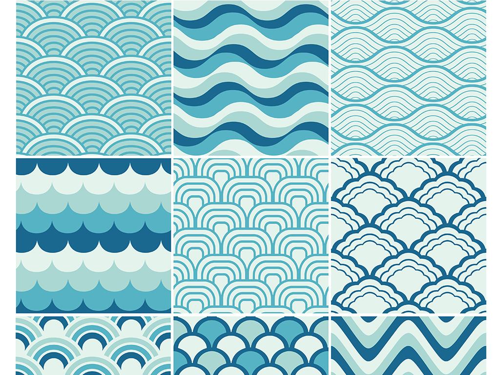 免抠元素 花纹边框 底纹 > 手绘蓝色海浪日本传统和风纹理平铺背景