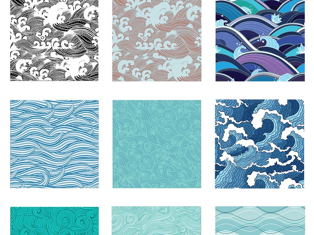 手绘蓝色海浪日本传统和风纹理平铺背景图案eps矢量设计素材