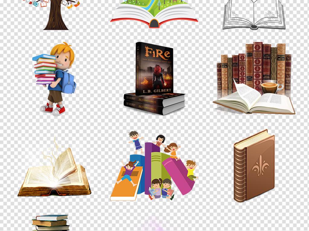 手绘书开学季卡通书卡通书素材书本书籍扁平化图书彩色书本一堆书翻开