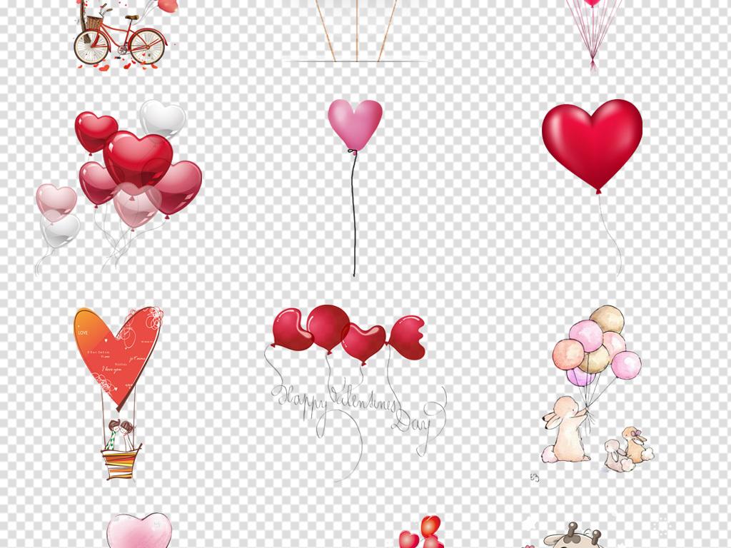 手绘气球素材气球图片卡通气球心形png图片卡通图片彩色免抠素材卡通