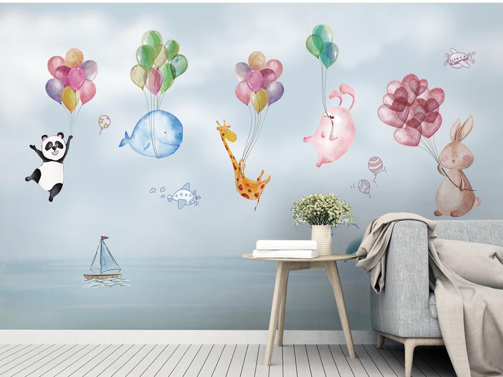 儿童房卡通手绘熊猫气球海豚飞艇背景墙