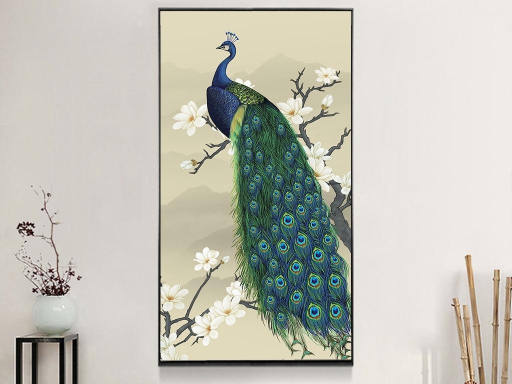 新中式手绘玉兰花孔雀玄关背景墙装饰画
